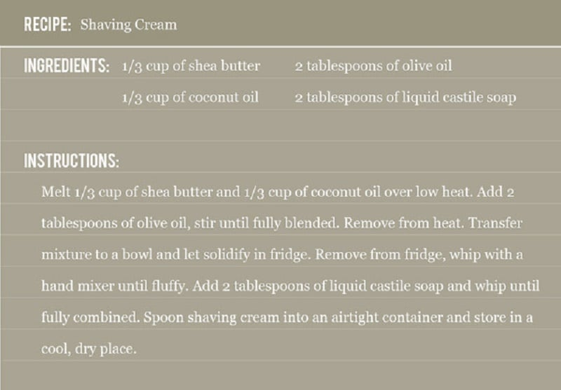 shaving cream recipe